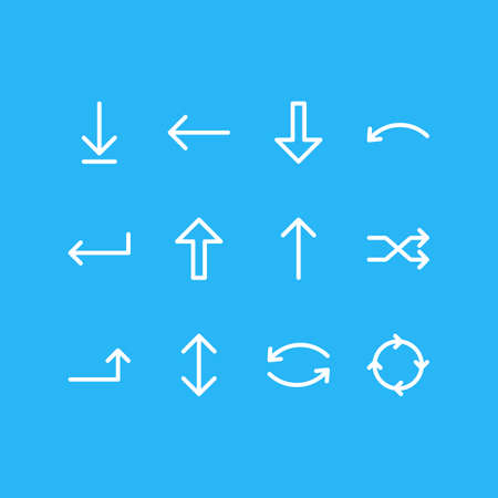 Vector Illustration Of 12 Arrows Icons. Editable Pack Of Left, Circle, Raise And Other Elements.
