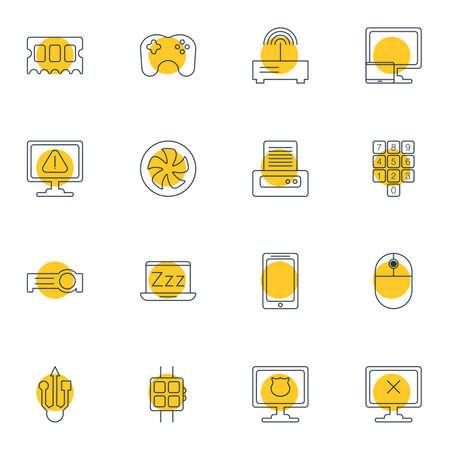 Illustration vectorielle de 16 icônes d'ordinateur portable. Pack modifiable de téléphones intelligents, clavier numérique, ordinateur portable et autres éléments.
