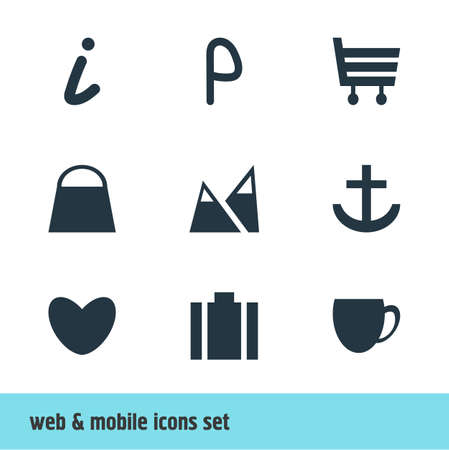 diplomat: Vector Illustration Of 9 Map Icons. Editable Pack Of Heart, Anchor, Coffee Shop And Other Elements. Illustration