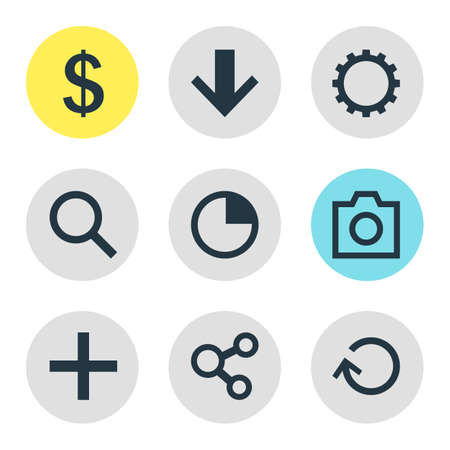 tax time: Vector Illustration Of 9 Interface Icons. Editable Pack Of Snapshot, Plus, Stopwatch And Other Elements. Illustration