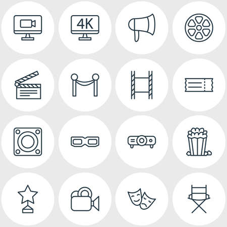 Vector Illustration Of 16 Film Icons. Editable Pack Of Reward, Clapper, Television And Other Elements. Illustration