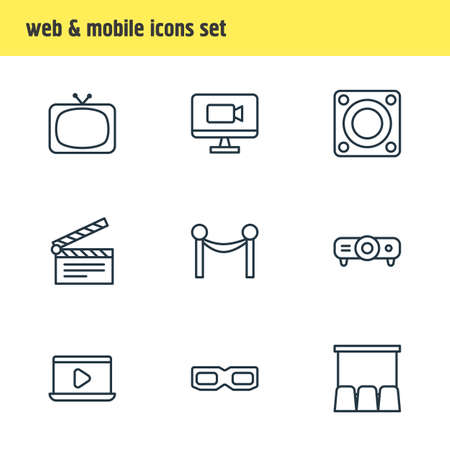 Vector Illustration Of 9 Movie Icons. Editable Pack Of Spectacles, Slideshow, Loudspeaker And Other Elements.