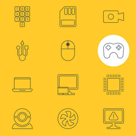 gamepad: Vector Illustration Of 12 Computer Icons. Editable Pack Of Microprocessor, Number Keypad, Gamepad And Other Elements.