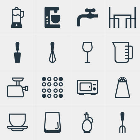 Vector Illustration Of 16 Kitchenware Icons. Editable Pack Of Cooker, Carafe, Dinner Table And Other Elements.