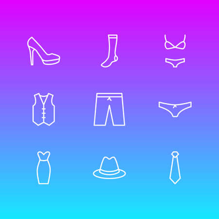 Vector Illustration Of 9 Dress Icons. Editable Pack Of Fedora, Cravat, Panties And Other Elements.