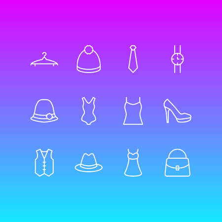 Vector Illustration Of 12 Garment Icons. Editable Pack Of Cloakroom, Panama, Pompom And Other Elements.