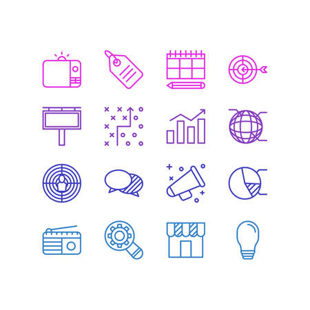 inspect: Vector Illustration Of 16 Marketing Icons. Editable Pack Of Discount Label, Shop, Network And Other Elements.