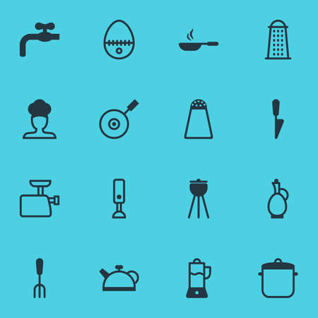 Vector Illustration Of 16 Kitchenware Icons. Editable Pack Of Kitchen Dagger, Mincer, Mixer And Other Elements.