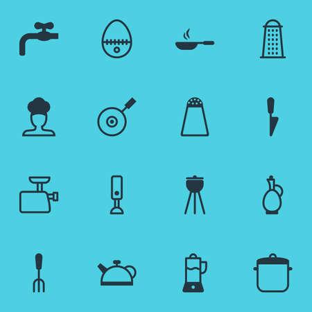 Vector Illustratie Van 16 Keukengerei Pictogrammen. Bewerkbare Pack van Keuken Dolk, Vleesmolen, Mixer en andere elementen.