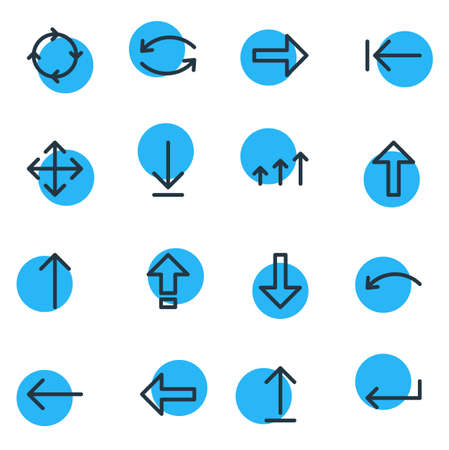 Vector Illustration Of 16 Direction Icons. Editable Pack Of Update, Turn, Download And Other Elements. Illustration