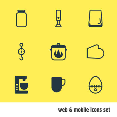 Vector Illustration Of 9 Cooking Icons. Editable Pack Of Tea Cup, Stewpot, Steelyard And Other Elements. Illustration