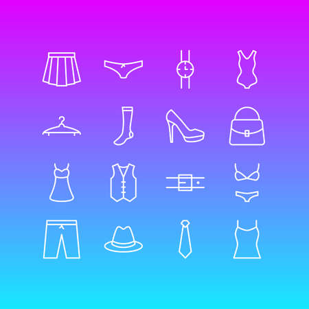 Vector Illustration Of 16 Clothes Icons. Editable Pack Of Handbag, Swimwear, Apparel Elements.
