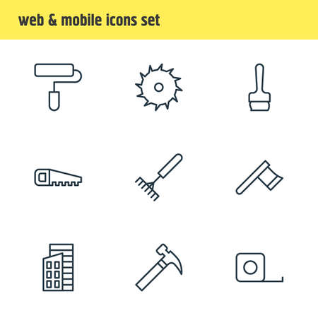 hatchet: Vector Illustration Of 9 Construction Icons. Editable Pack Of Apartment, Measure Tape, Hatchet And Other Elements.