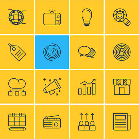 inspect: Vector Illustration Of 16 Advertising Icons. Editable Pack Of Lamp, Statistics, Discount Label And Other Elements. Illustration