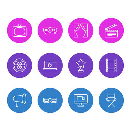Vector Illustration Of 12 Film Icons. Editable Pack Of Movie Reel, Slideshow, Shooting Seat And Other Elements.