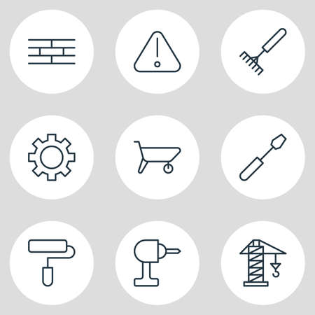 Vector Illustration Of 9 Structure Icons - Editable Pack Of Barrier, Harrow, Lifting And Other Elements.
