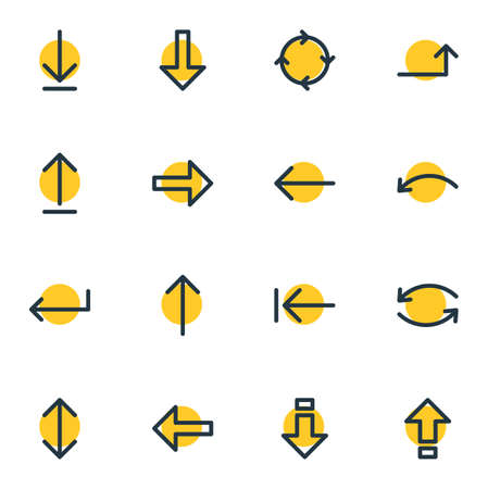 Vector Illustration Of 16 Arrows Icons. Editable Pack Of Submit, Down, Upwards And Other Elements.