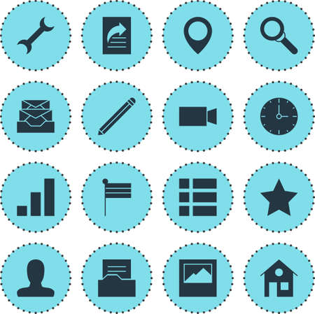 todo: Vector Illustration Of 16 Web Icons. Editable Pack Of Map Marker, Bookmark, Messages And Other Elements.