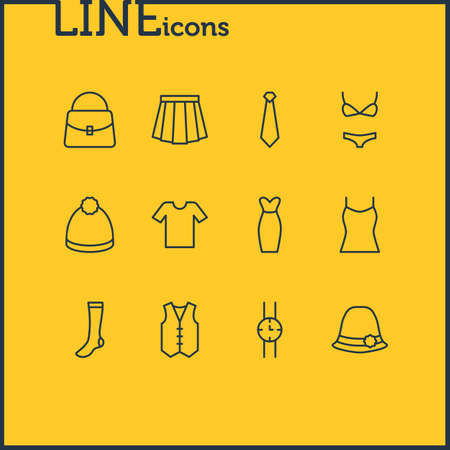 petticoat: Vector Illustration Of 12 Clothes Icons. Editable Pack Of Pompom, Casual, Cravat And Other Elements.