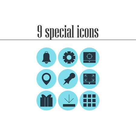 maximize: Vector Illustration Of 9 Internet Icons. Editable Pack Of Gift, Gear, Grid And Other Elements.
