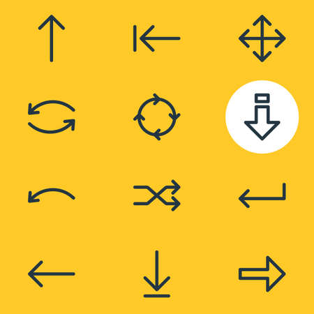 resize: Vector Illustration Of 12 Direction Icons. Editable Pack Of Undo, Left, Update And Other Elements.