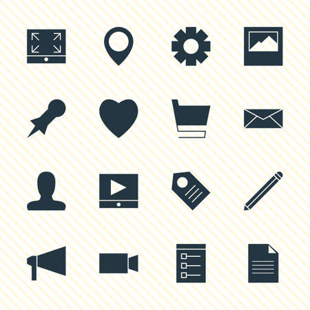 minimize: Vector Illustration Of 16 Online Icons. Editable Pack Of Love, Board, Landscape Photo Elements.