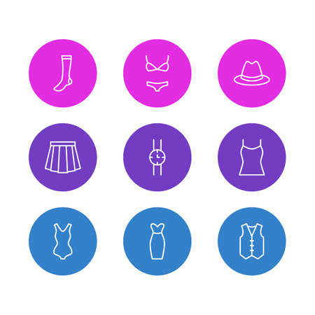 Vector Illustration Of 9 Garment Icons. Editable Pack Of Fedora, Swimsuit, Swimwear And Other Elements.