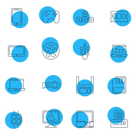 Vector Illustration Of 16 Notebook Icons. Editable Pack Of Tablet, Laptop, Modern Watch And Other Elements.