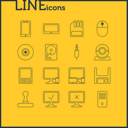 Vector Illustration Of 16 Computer Icons. Editable Pack Of Phone Near Computer, Diskette, Storage And Other Elements. Illustration