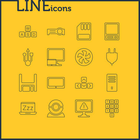 Vector Illustration Of 16 Laptop Icons. Editable Pack Of Pda, Socket, Keypad And Other Elements.