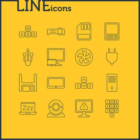 Illustration vectorielle de 16 icônes d'ordinateur portable. Pack modifiable de Pda, douille, clavier et autres éléments.