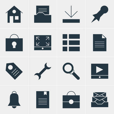 todo: Vector Illustration Of 16 Online Icons. Editable Pack Of Messages, Document, Thumbtack And Other Elements. Illustration