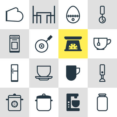 housewares: Vector Illustration Of 16 Kitchenware Icons. Editable Pack Of Oven, Refrigerator, Can And Other Elements. Illustration