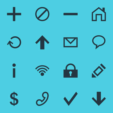 Vector Illustration Of 16 Interface Icons - Editable Pack Of Pen, Cordless Connection, Info And Other Elements.