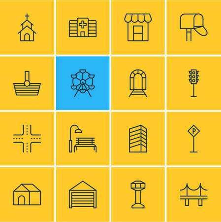 intercommunication: Vector Illustration Of 16 Public Icons - Editable Pack Of Parking, Semaphore, Ferris Wheel And Other Elements. Illustration