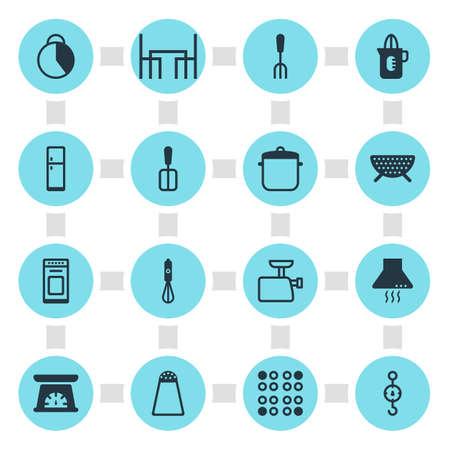 Vector illustratie van 16 koken iconen - bewerkbare pakje peper container, vork, tijdwaarnemer en andere elementen. Stock Illustratie