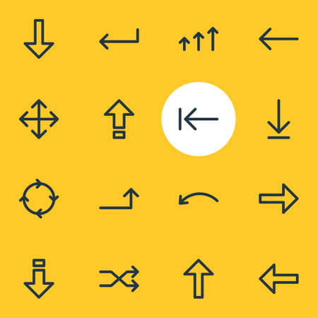 Vector Illustration Of 16 Direction Icons. Editable Pack Of Tab, Right, Left And Other Elements.