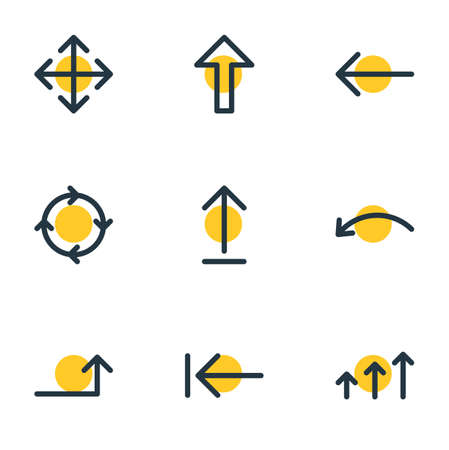 Vector Illustration Of 9 Sign Icons. Editable Pack Of Up, Left, Tab And Other Elements.
