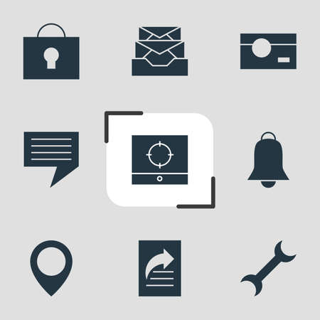 capturing: Vector Illustration Of 9 Online Icons. Editable Pack Of Map Pointer, Chat, Capture And Other Elements.