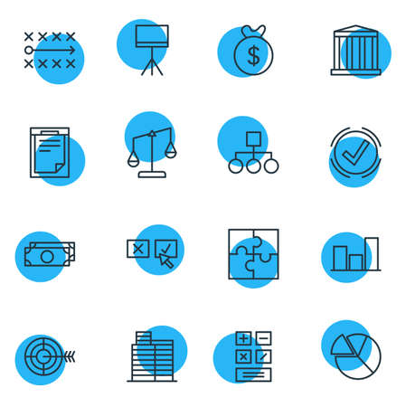 Vector Illustration Of 16 Management Icons. Editable Pack Of Building, File, Balance And Other Elements.