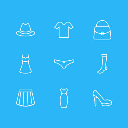 Vector Illustration Of 9 Garment Icons. Editable Pack Of Fedora, Handbag, Panties Elements.