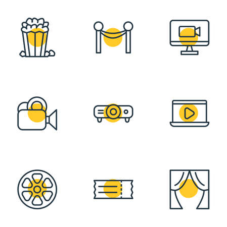 blockbuster: Vector Illustration Of 9 Cinema Icons. Editable Pack Of Television, Slideshow, Coupon And Other Elements.