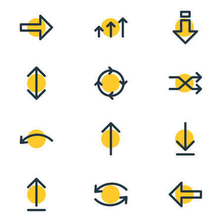 Vector Illustration Of 12 Sign Icons. Editable Pack Of Exchange, Direction, Update And Other Elements. Illustration