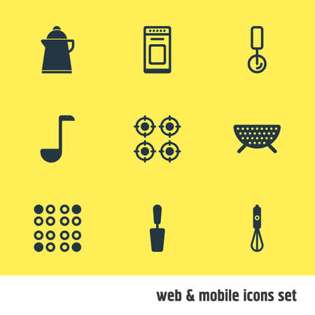 coking: Vector Illustration Of 9 Cooking Icons. Editable Pack Of Furnace, Oven , Handmixer Elements.