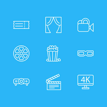 viewing: Vector Illustration Of 9 Cinema Icons. Editable Pack Of Resolution, Clapper, Movie Reel And Other Elements.