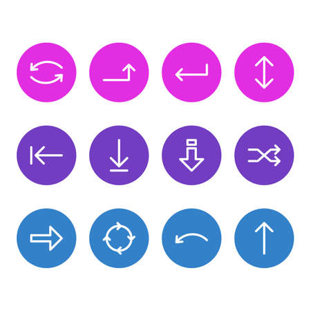 Vector Illustration Of 12 Sign Icons. Editable Pack Of Randomize, Undo, Down Elements.