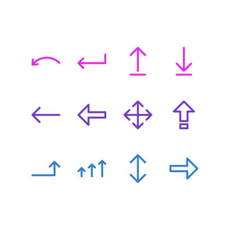 Vector Illustration Of 12 Arrows Icons. Editable Pack Of Turn, Right, Exchange And Other Elements.