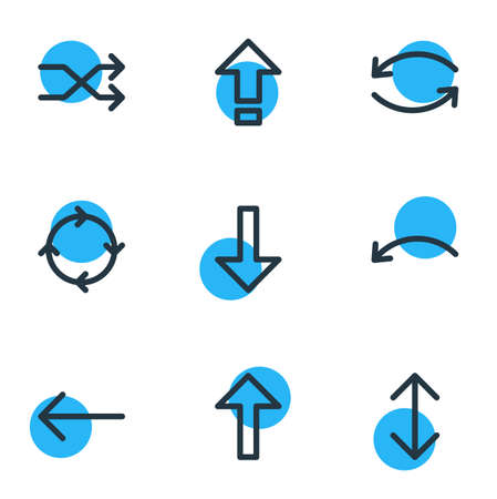 Vector Illustration Of 9 Direction Icons. Editable Pack Of Circle , Shrift , Randomize Elements.