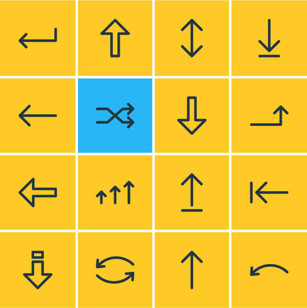 Vector Illustration Of 16 Sign Icons. Editable Pack Of Up, Increase, Direction And Other Elements.