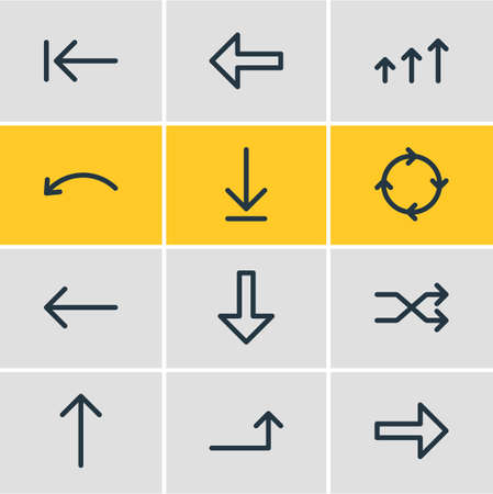 Vector Illustration Of 12 Direction Icons. Editable Pack Of Direction, Increase, Download And Other Elements. Illustration